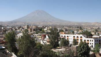 A city with trees scattered around. Most of the buildings are white. There is a volcano in the background.
