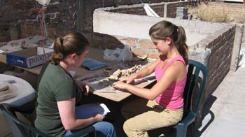 Samantha and Luciana sitting at a table outside working on a pile on vertebrae on a wooden table. Samantha (left) is wearing a green tshirt and jeans. Luciana is wearing a pink tanktop and khaki pants. They both have brown hair in ponytails.