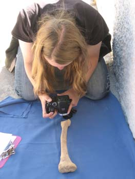 Emily is kneeled on the ground and leaning over a tibia with a camera. The tibia is laying on a blue cloth. Emily is wearing a black tshirt and jeans. She has long brown hair.