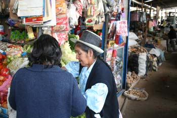 Gloria and another person at a market stand. There is produce and other goods hanging in bags. Gloria's back is to the camera. She is wearing a blue jacket and has shoulder length black hair. The other person is wearing a blue shirt, black vest, and a brown and black hat.