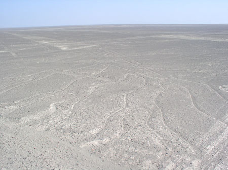 The Nasca lines- long lines etched into the ground.