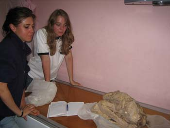Ella and Emily are examining a mummy about to be x-rayed. It is curled in a fetal position on a table. Ella is wearing a dark colored shirt and jeans. She has dark hair in a ponytail. Emily is wearing a white tshirt with black around the collar and around the bottom of the sleeves.