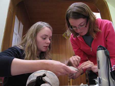 Emily and Alysha are holding and looking at a skull fragment. There is a skull on the table with fragments missing. Other fragments have been glued in place. There is a gray water bottle next to the skull. Behind them is a wooden archway leading into another room with vertical wooden panels. There are four pieces of paper taped to the left on this wall. The wall on their side is yellow. Emily is wearing a blue shirt and she has shoulder length light brown hair. Alysha is wearing a gray tshirt, pink jacket, and glasses. She has shoulder length brown hair.