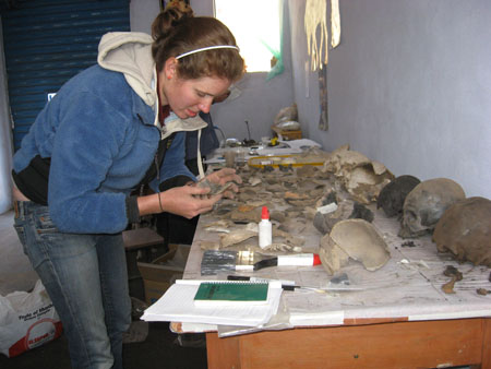 Catherine- with a blue jacket on and brown hair in a pony tail- is holding a skull fragment. There is glue, more skull fragments, and some reconstructed skulls on the table in front of her.