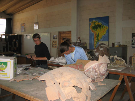 Chris and Tiffiny are looking at skull fragments. You can't see the bones behind two large round ceramic pieces that have been glued back together. The one is front is light brown and the other one is red with white markings. Tiffiny is hunched over the frags and Chris (left) is looking at papers on the wooden table. On the table behind them there is another large ceramic chunk and two articulated animal skeletons. There is a map of South America that marks out elevation in green, yellow, and orange. It is hanging on the wall of brown bricks. Chris is wearing a black long lseeved shirt, dark jeans, and glasses. Chris has short brown hair. Tiffiny is wearing a white shirt and a light blue jacket. Her brown hair is in a ponytail.