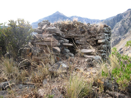 A small squarish structure made of large gray stones, but one side has been broken down from looting. There are dry grasses and shrubs on and around the structure. There are hills in the background.