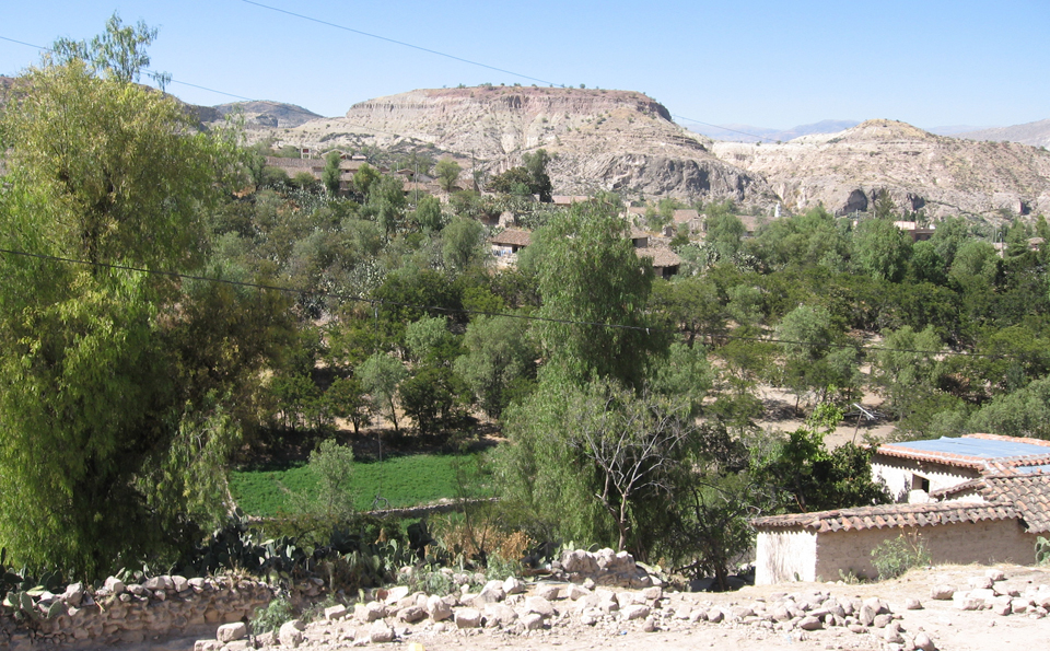 A photo of the village of Payacasa. There is rocky terrain and a wall made of stones in the foreground. On the left of the photo are three white squat buildings with brown tiled roofs. In the background, there are rocky hills. In between the foreground and the background, there is grass and green trees. There are some more white buildings peaking through the leaves.